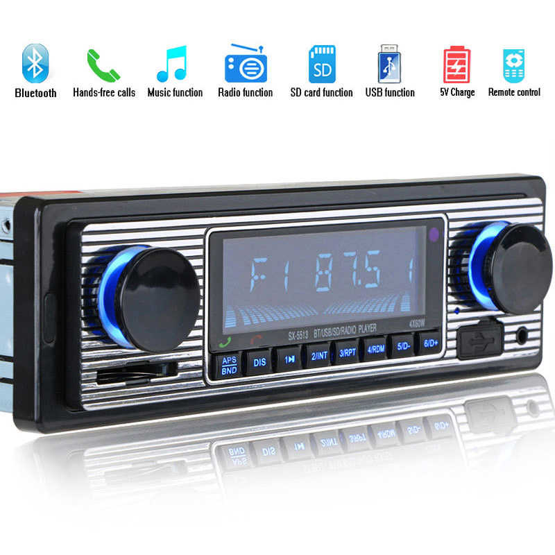 AAAE Top-Bluetooth Vintage Car Radio MP3 Player Stereo USB AUX Classic Car Stereo Audio