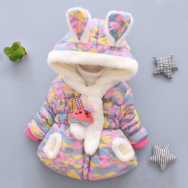 2018 New Fashion Winter Newborn Children Plus Velvet Cute Cotton Jacket Hooded Infant Clothing Baby Costume Girl Coat Clothes