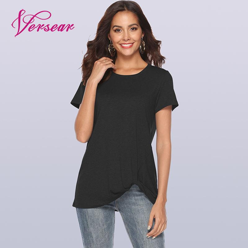 Versear Women Summer Casual T-shirt Solid Twist Knotted Ruching O Neck Short Sleeve Shirts Pullover Tops New Fashion Basic Top