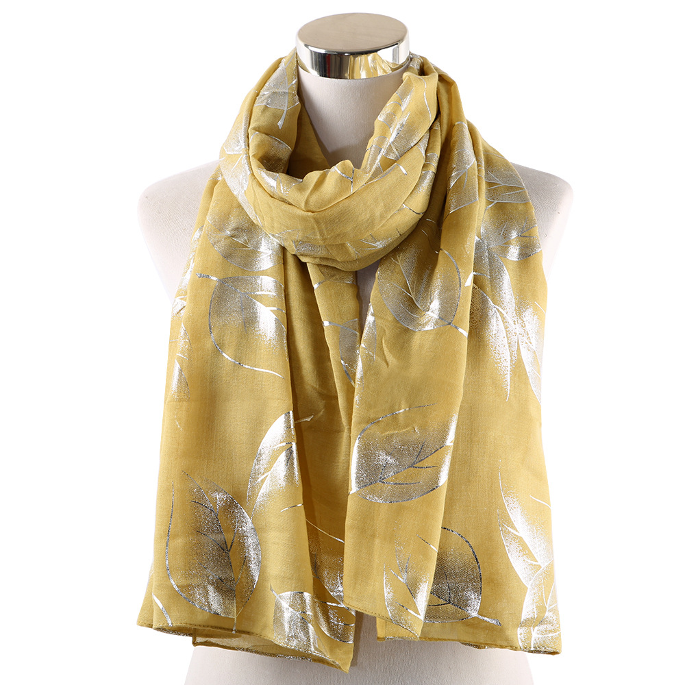 OLOME Fashion Girl Women Necklace   Scarves   Long Soft Leaf Foil Glitter   Scarf     Wrap   Shawl Scarfs for Ladies