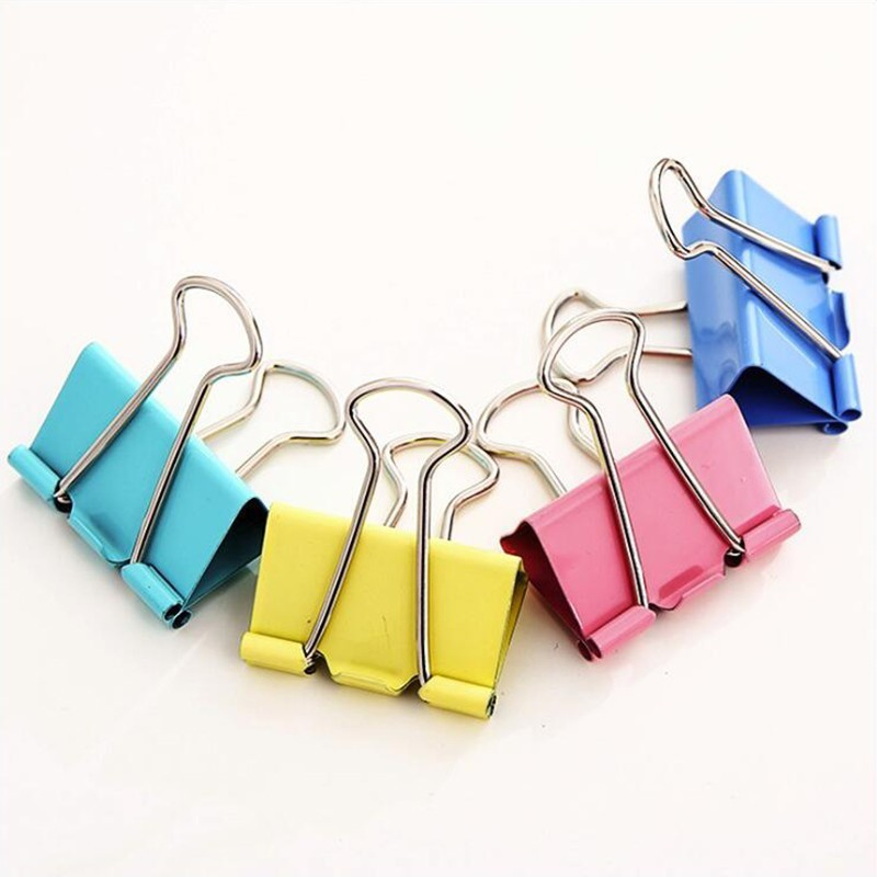 Japanese Colored Long Tail Clip Metal Material Office Stationery And School Supplies Binder Clip 5PCS/Bag