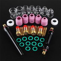 41Pcs/set TIG Welding Torch Nozzle Ring Cover Gas Lens Glass Cup Kit For WP17/18/26 Welding Accessories Tool Kit Set
