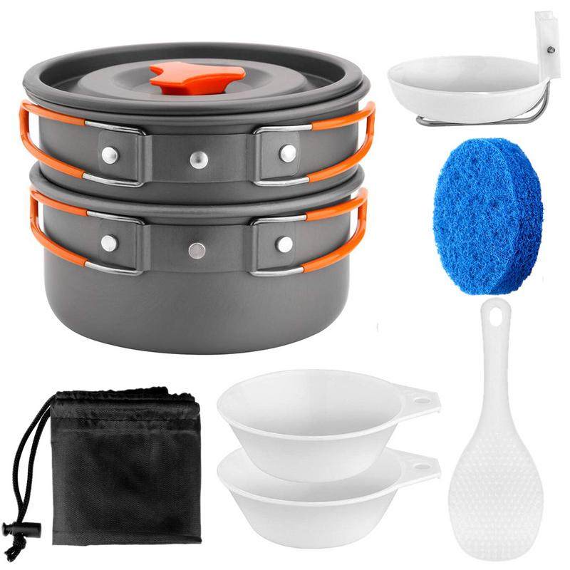 Collection Here 1 To 2 People Camping Cookware Kit Portable Kitchen Pan Pot Set Suitable For Hiking Camping Fine Quality Outdoor Tablewares