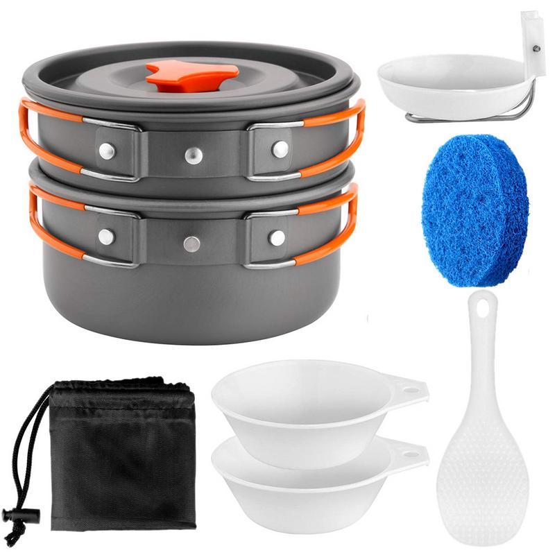 1 Zu 2 Menschen Camping Kochgeschirr Kit Tragbare Küche Pan Pot Set Geeignet Für Wandern Camping