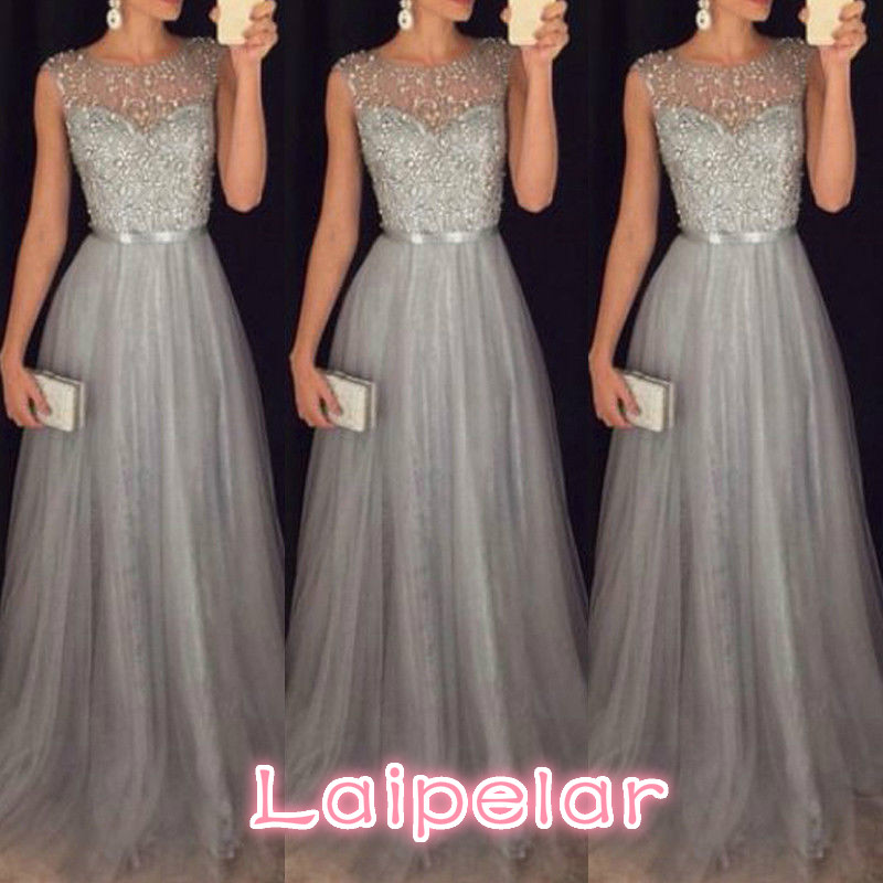 2018 new Women sleeveless sequins Formal Wedding Bridesmaid elegant female Long Party Ball Prom Gown voile long Dresses in Dresses from Women 39 s Clothing
