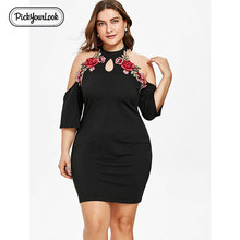 Pickyourlook Halter Mini Dress For Women Plus Size Floral Sexy Party Black Ladies Dresses Summer Bodycon Hollow Out Robe Femme