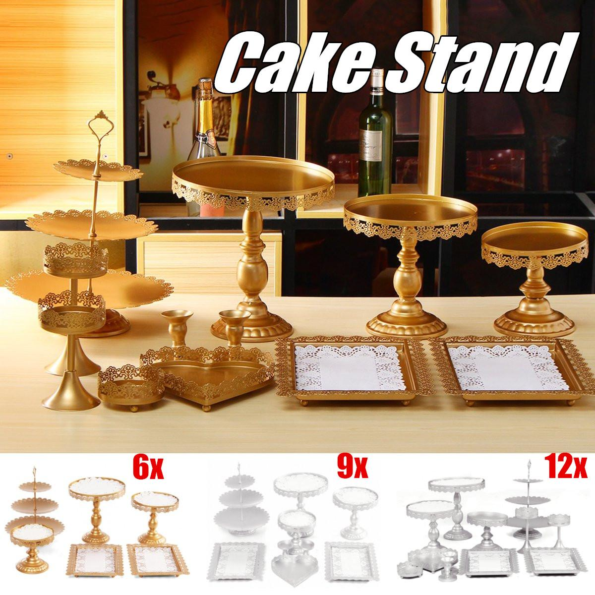 6 9 12Pcs Iron White Gold Cupcake Stand Metal Cake Stand Holder Tray Birthday Wedding Party