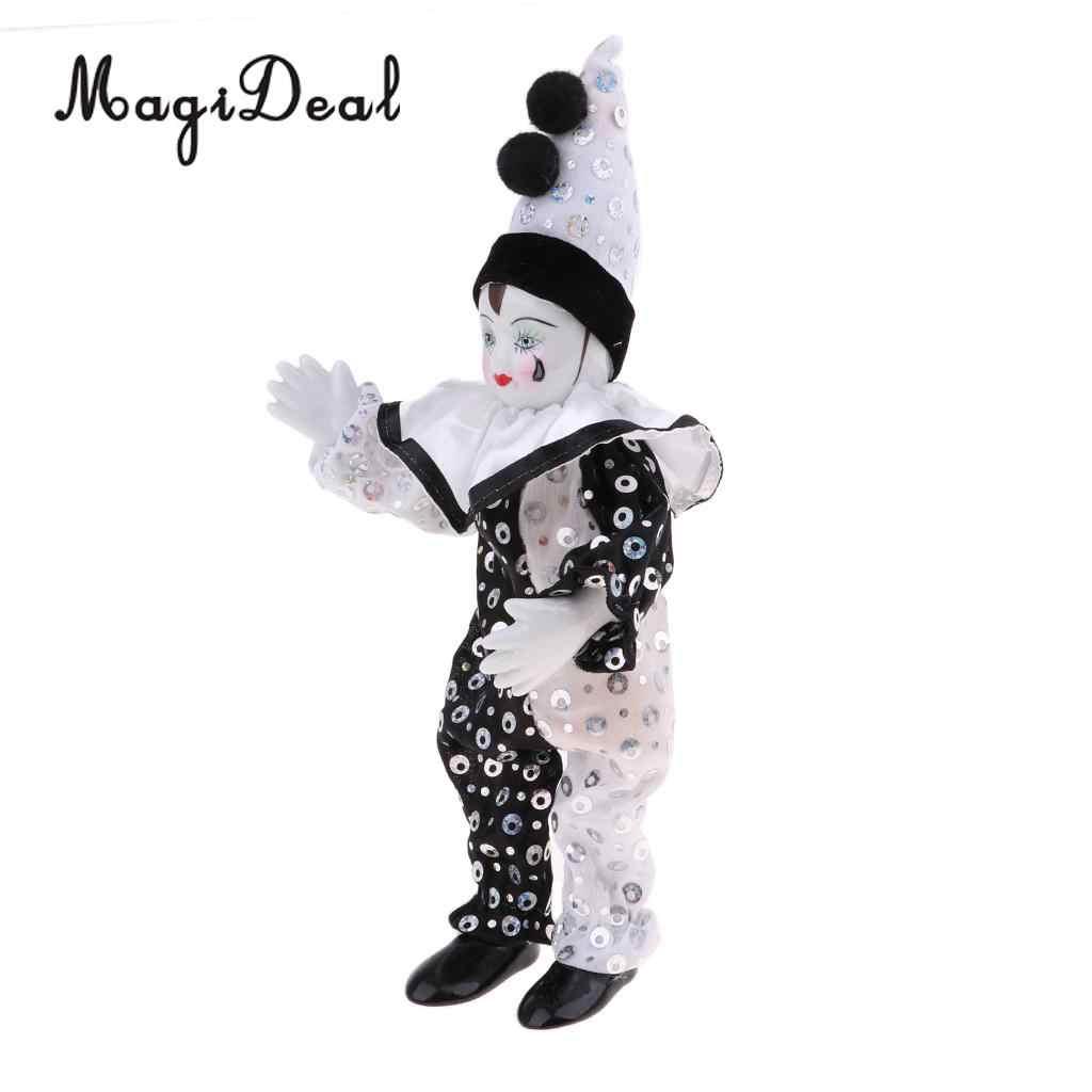 23 см Смешной клоун, мужская одежда высокого качества из парчи фигурка кукла игрушка украшение для рождественской вечеринки в горошек