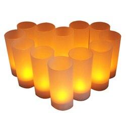 12 قطعة LED الشاي ضوء عديمة اللهب قابلة للشحن LED الشاي ضوء الخفقان العنبر tealight الشموع الولايات المتحدة التوصيل بطارية قابلة للشحن