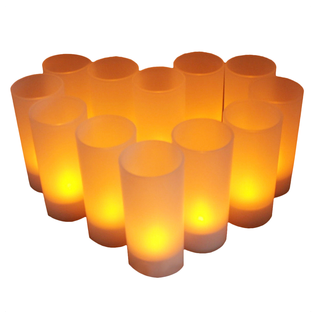 12pcs LED Tea Light Flameless Rechargeable LED Tea Light Flickering Amber Tealights Candles US Plug Rechargeable Battery