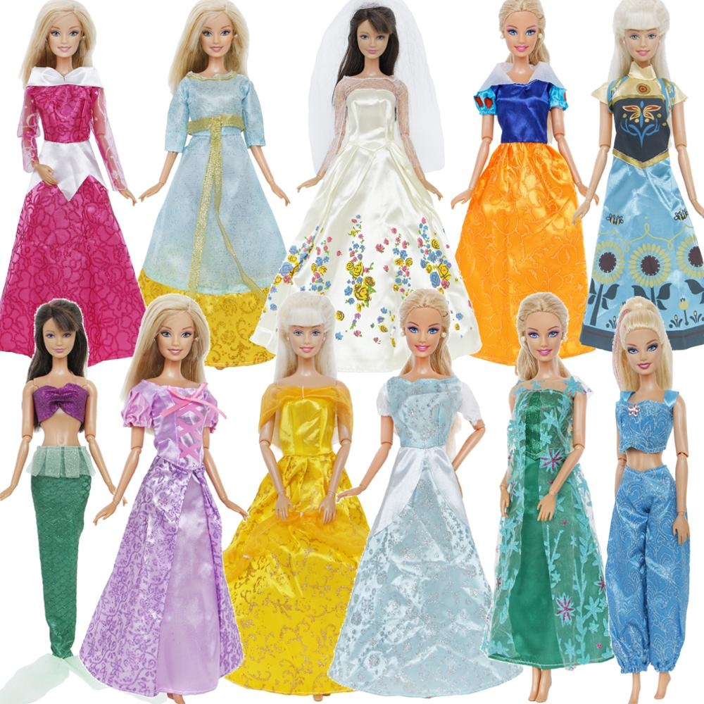 Handmade Mermaid Tail Dress Baby Toy Party Dress Gown Skirt For  Doll Fg