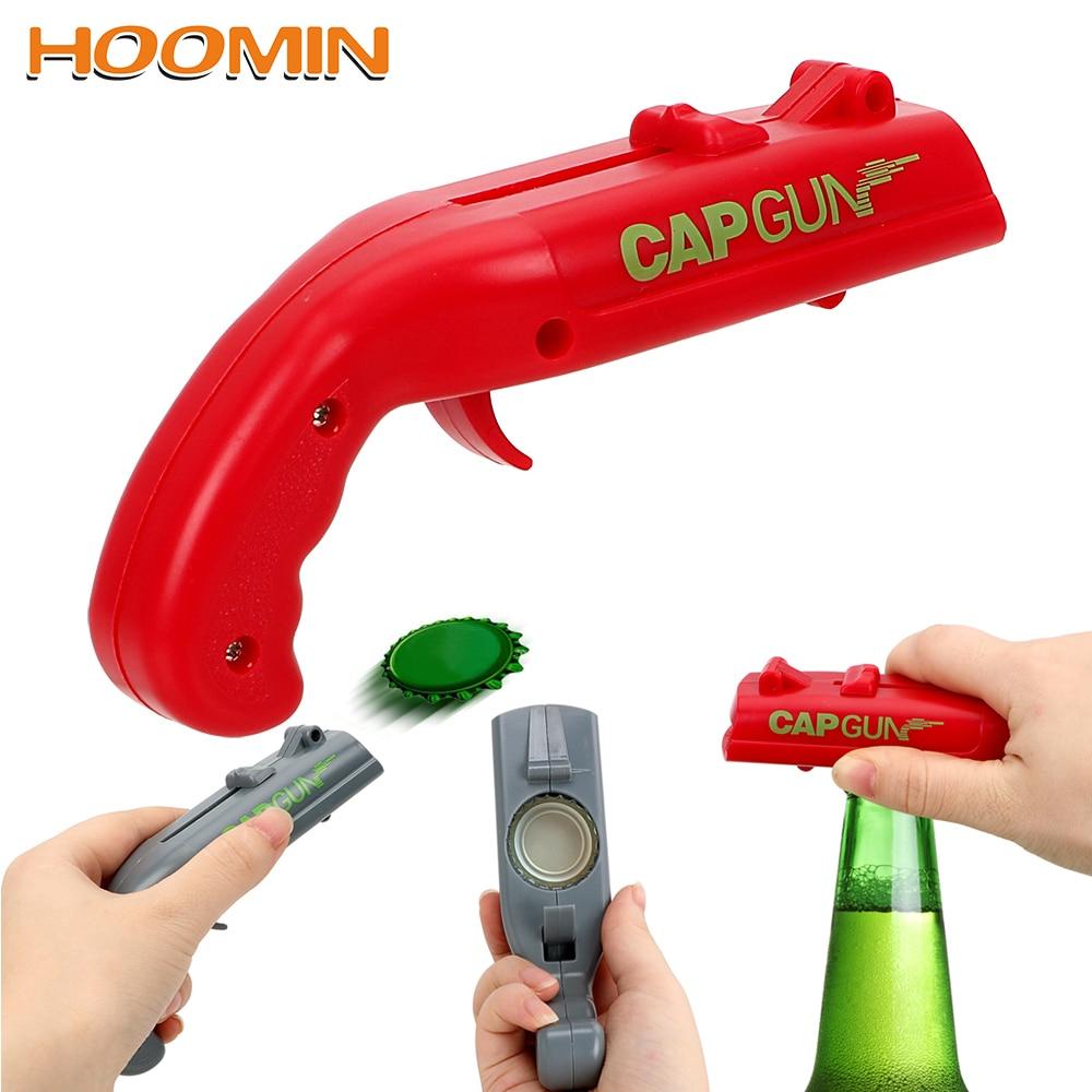 HOOMIN Beer Bottle Opener Spring Cap Can Openers Drink Opening Catapult Launcher Gun Shape Creative Shooter Bar Tools