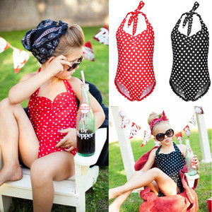 Fashion Casual Slim Polka Dots Girls Kids Bikini Halterneck Swimsuit Swimming Costume Bathing Suit 2-7Y Summer Clothes