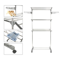 3 Tiers Stainless Steel Laundry Storage Hanger Organizer Adjustable Drying Rack Clothes Dryer Floor standing Home Furniture HWC
