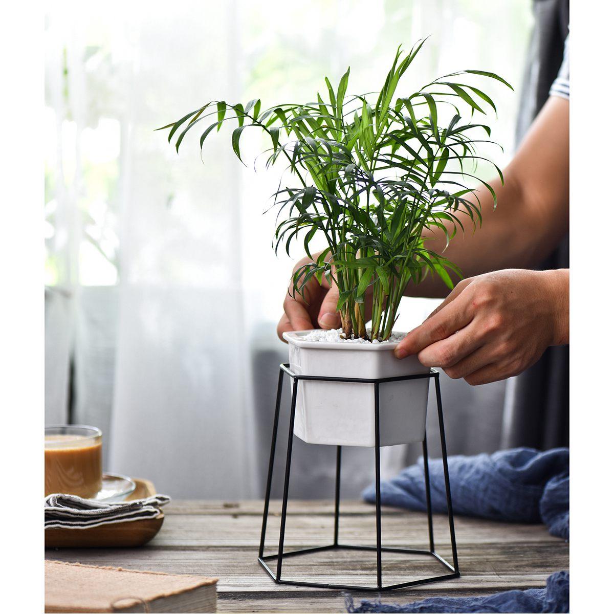 Planter Pots Indoor Hexagon Modern Garden Ceramic Round Bowl With