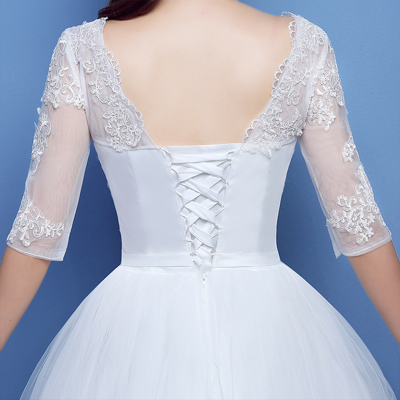 Image 5 - Vestidos De Novias White Ball Gown Wedding Dress Elegant V Neck Half Sleeve Appliques Beaded Lace Bridal Gowns Robe De Mariee-in Wedding Dresses from Weddings & Events
