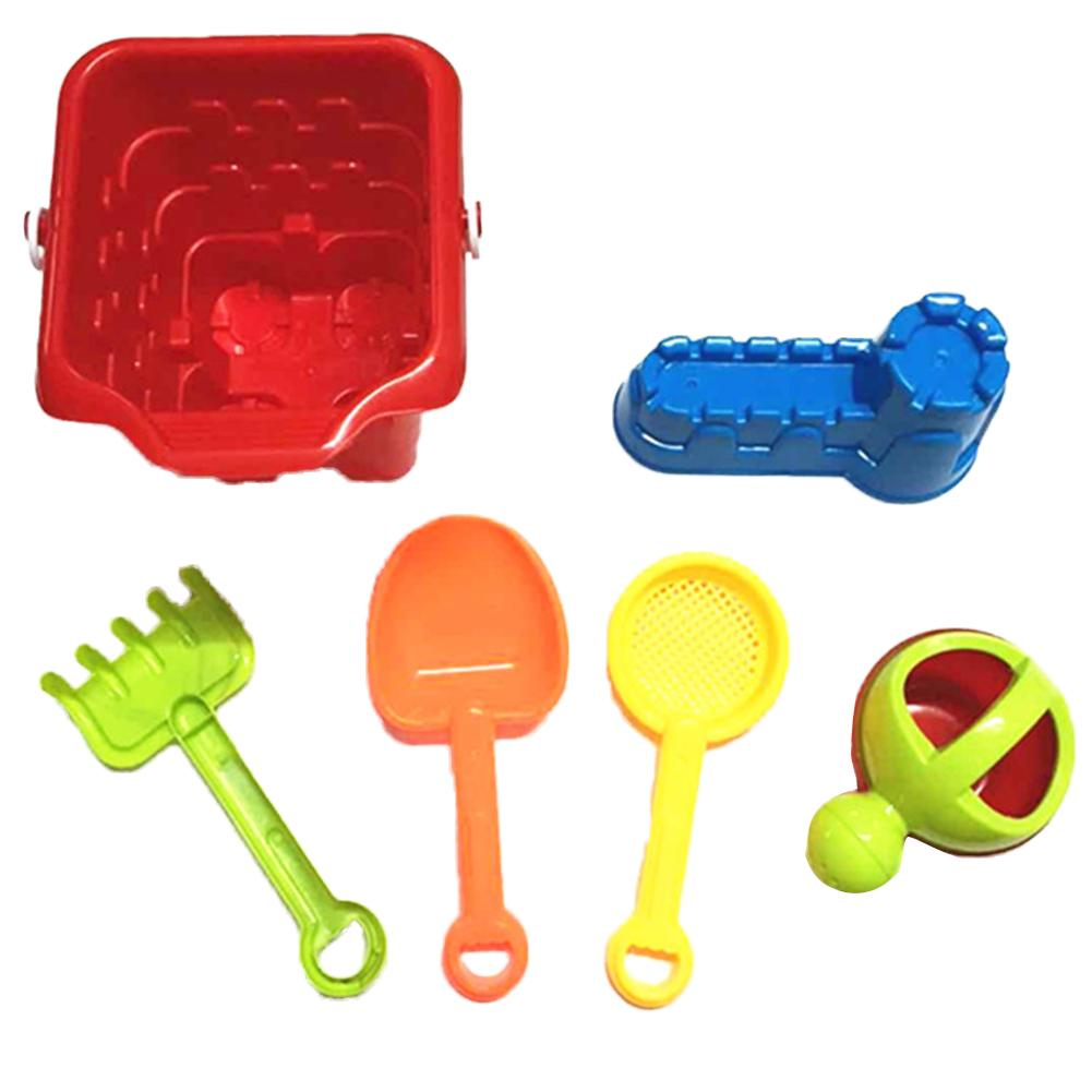 Children's Beach Toys Set 6 Pieces Outdoor Play Puzzle Beach Toy Innovative Beach Bucket Play Water Toy Gift For Kids In Summer
