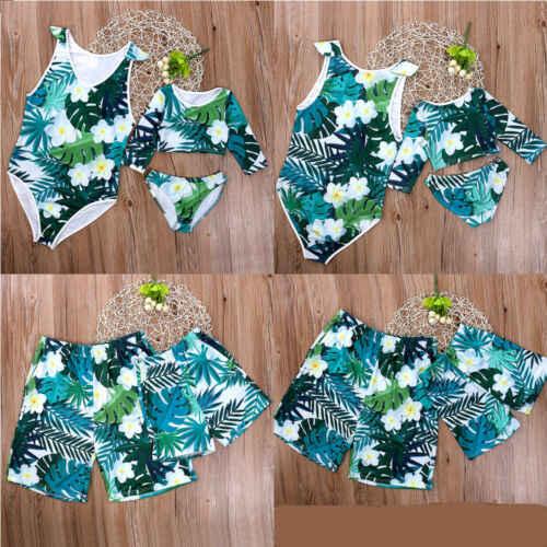 24466adaeb ... 2019 New Family Matching Swimsuit Mother Daughter Baby Girl Bikini Set  Dad Son Boy Swimming Shorts ...