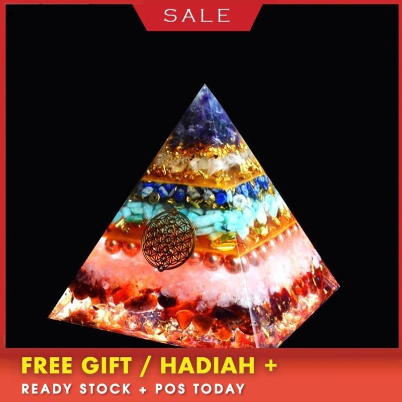 Orgonite Chakra Healing High Frequency Energy Seven Pyramid Meditation Balance Yoga Transit Resin Decoration