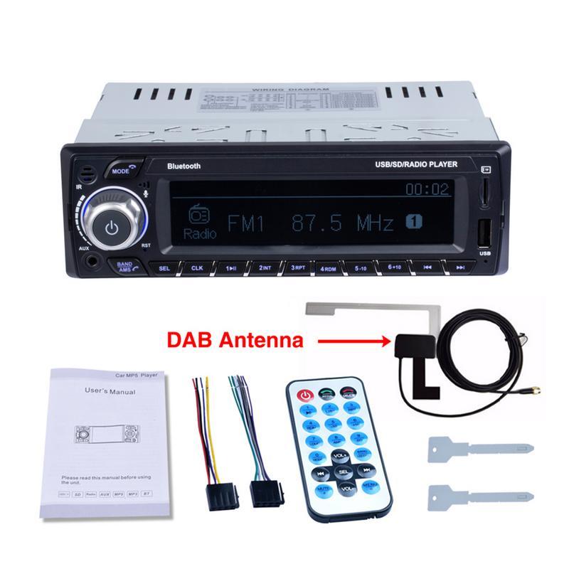 1DIN voiture lecteur MP3 Support câble Audio Bluetooth entrée lecture fonction Radio grand écran affichage