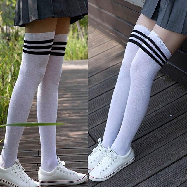 4d1c1b2cec8 Thick Polyester Stockings with Three Edge Lines Schoolgirl Wear Knee-high  Socks Leg Protector Sock 2019 Autumn Winter Warm Socks