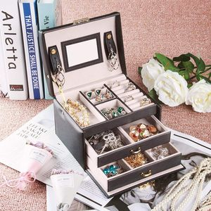 Image 5 - Large Jewelry Packaging Boxes Armoire Dressing Chest with Clasps Bracelet Ring Organizer Carrying Cases with 2 drawers 3 layers