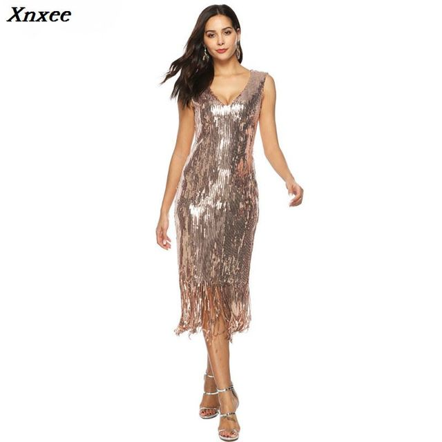Xnxee fashion gold sequin dress sexy vestido elegant frocks party jurken glitter  bodycon kleider jurken robe femme long dress 43fb433492d3