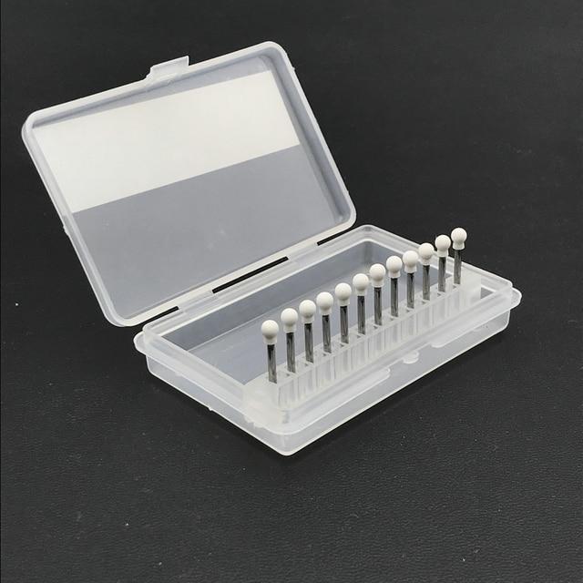 12Pcs Dental White Stone Porcelain Resin Handpiece Polishing Bur Round Kit