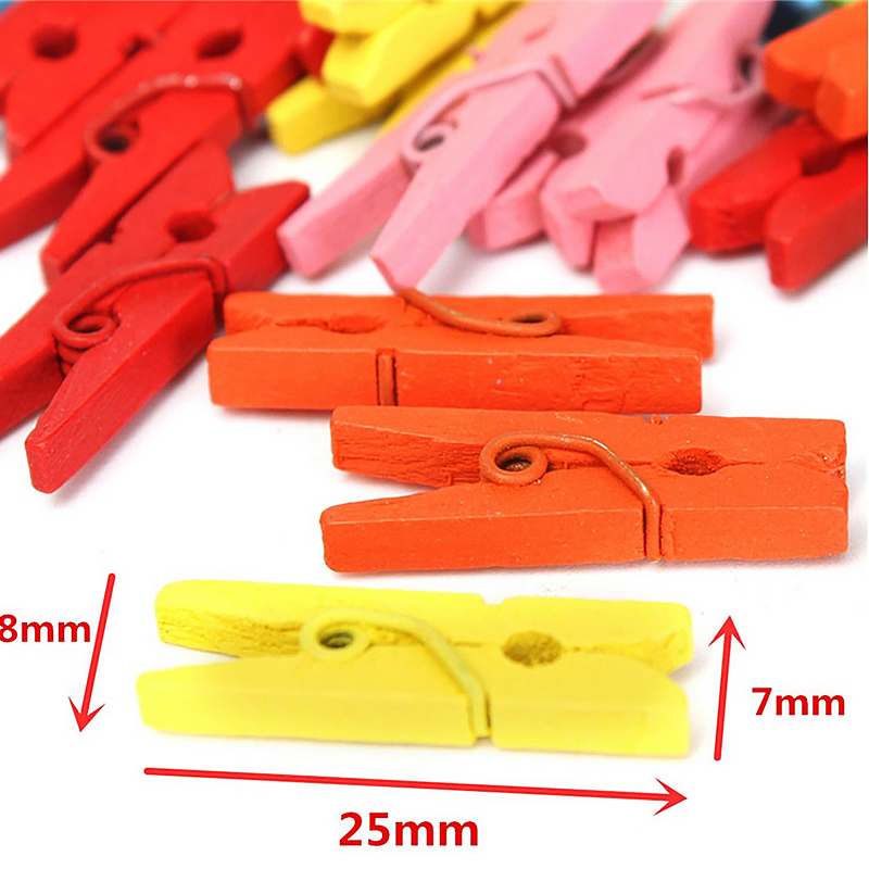 Image 3 - 100PCS/1Set 25mm Mini Color Wooden Craft Pegs Clothes Paper Photo Hanging Spring Clips Clothespins-in Clothes Pegs from Home & Garden