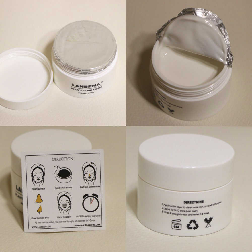 นาฬิกา LANBENA 30g จมูก Blackhead Remover Face Peeling Mask + 60 PCS เนื้อเยื่อ Blackhead สิวทำความสะอาดลึก Skincare TSLM1