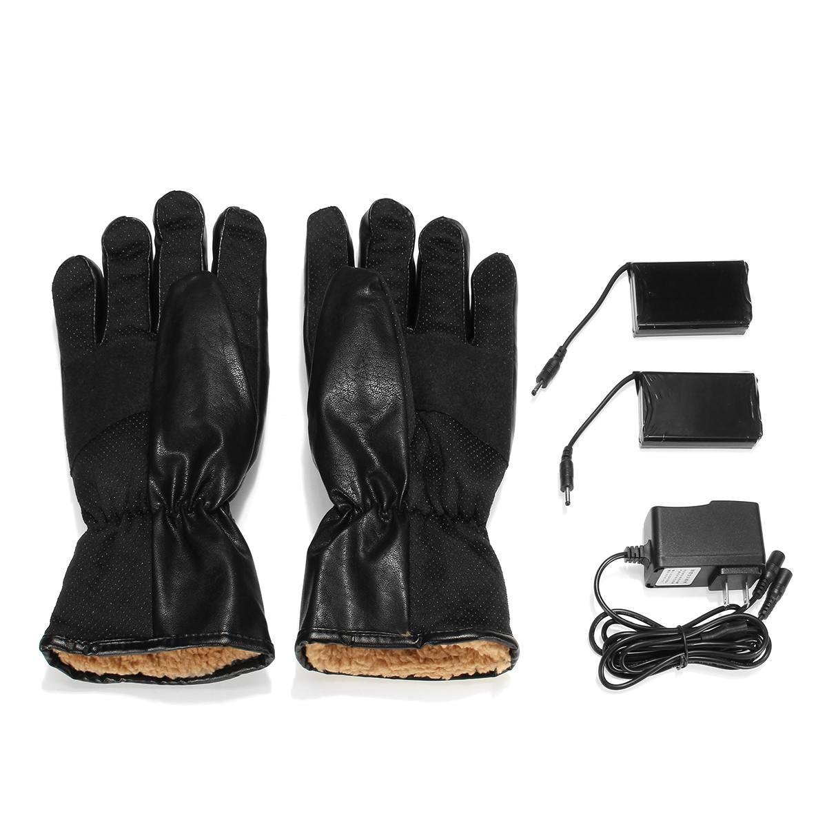Gants chauffants électriques d'hiver PU cuir femmes hommes Rechargeable 3000 mAh batterie mitaines chauffantes chaudes intérieur épaissir gants en coton