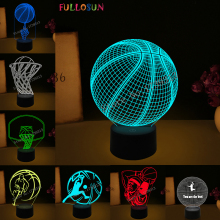 Basketball Light Lamp 7 Colorful Gradient 3D Visual Amazing LED Nightlights Novelty Lighting