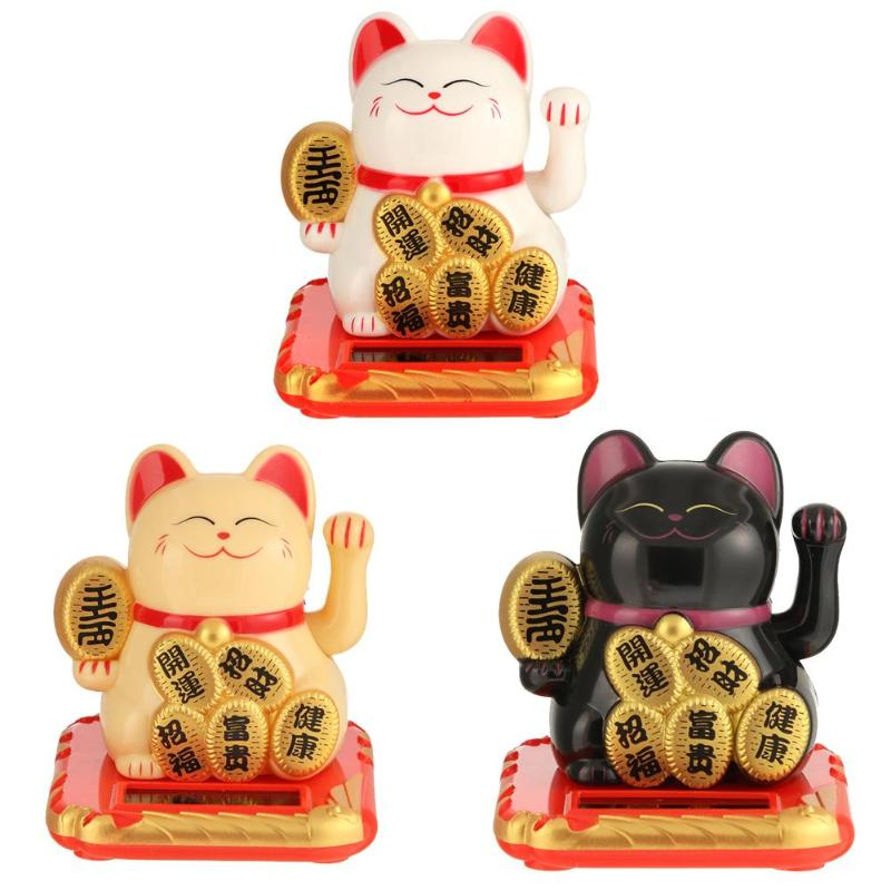 Chinese Lucky Cat Wealth Waving Shaking Hand Good Luck Fortune Welcome Cat Oranment For Home Office Shop Decor