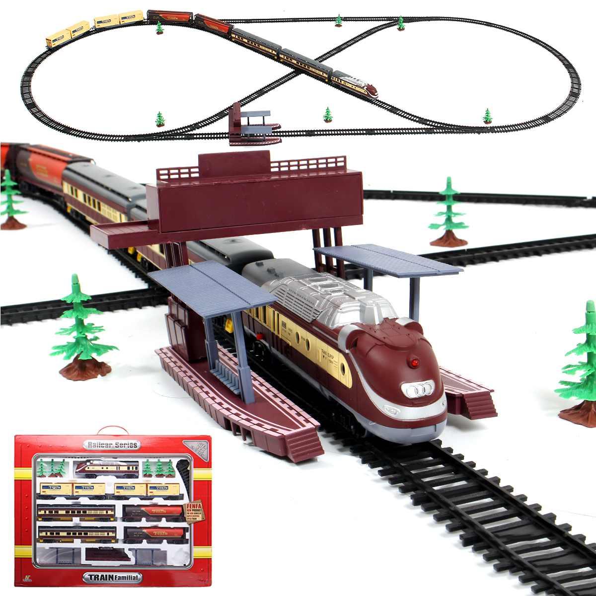 Electric Racing Rail Car Long Steam Train 9.4 Meters Train Track Model Toy Trains For Kids Truck Railway Train Railroad Birthday