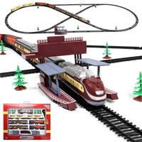 Electric Racing rail car Long Steam Train 9.4 Meters Train Track model toy trains for kids Truck Railway train Railroad birthday