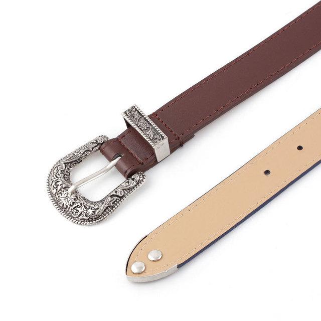 Hup Women Black Leather Western Cowgirl Waist Belt Metal Buckle Waistband New Hot Belts For Women Luxury Designer Brand
