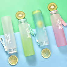 Матовая стеклянная бутылка для воды портативная без матовых бутылок для воды Летние виды спорта на открытом воздухе прозрачная красочная бутылка небьющаяся для чая