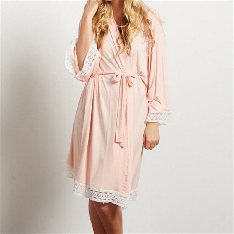 Pregnant Maternity Women Three Quarter Sleeve Cotton Robes Night Gown Dress Sleepwear Loose Soft Pajamas Clothes