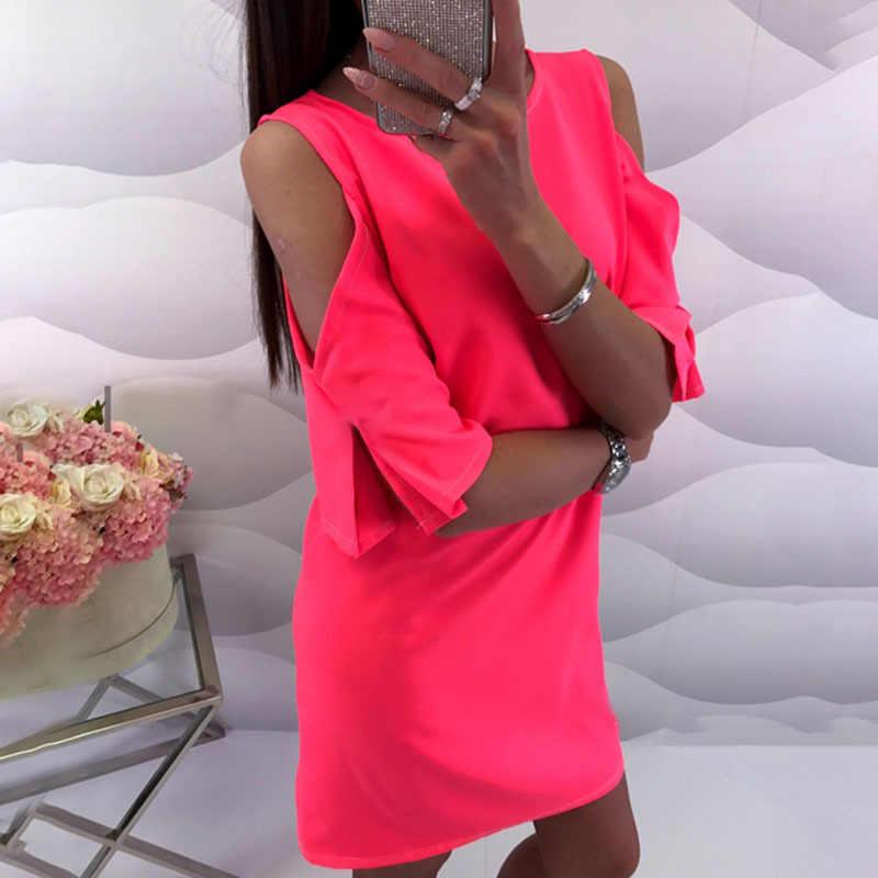 ccce4e69a5bcb Chiffon Neon Dress Women 5XL Beach Off Shoulder Sexy Summer Plus Size  Vintage Dresses Casual Black White Green Pink 2019 L58