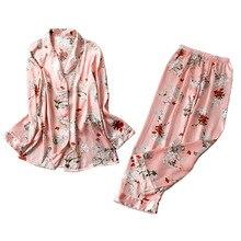 2019 Lente Satijnen Pyjama Vrouwen Pyjama Sets Met Broek Bloem Print Lange Mouwen Zijden Nachtkleding Pijama Mujer Vrouwelijke Nightsuit