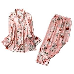 Image 1 - 2019 Spring Satin Pyjamas Women Pajamas Sets With Pants Flower Print Long Sleeve Silk Sleepwear Pijama Mujer Female Nightsuit