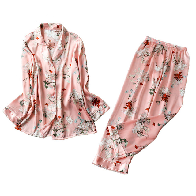 2019 Spring Satin Pyjamas Women Pajamas Sets With Pants Flower Print Long Sleeve Silk Sleepwear Pijama Mujer Female Nightsuit