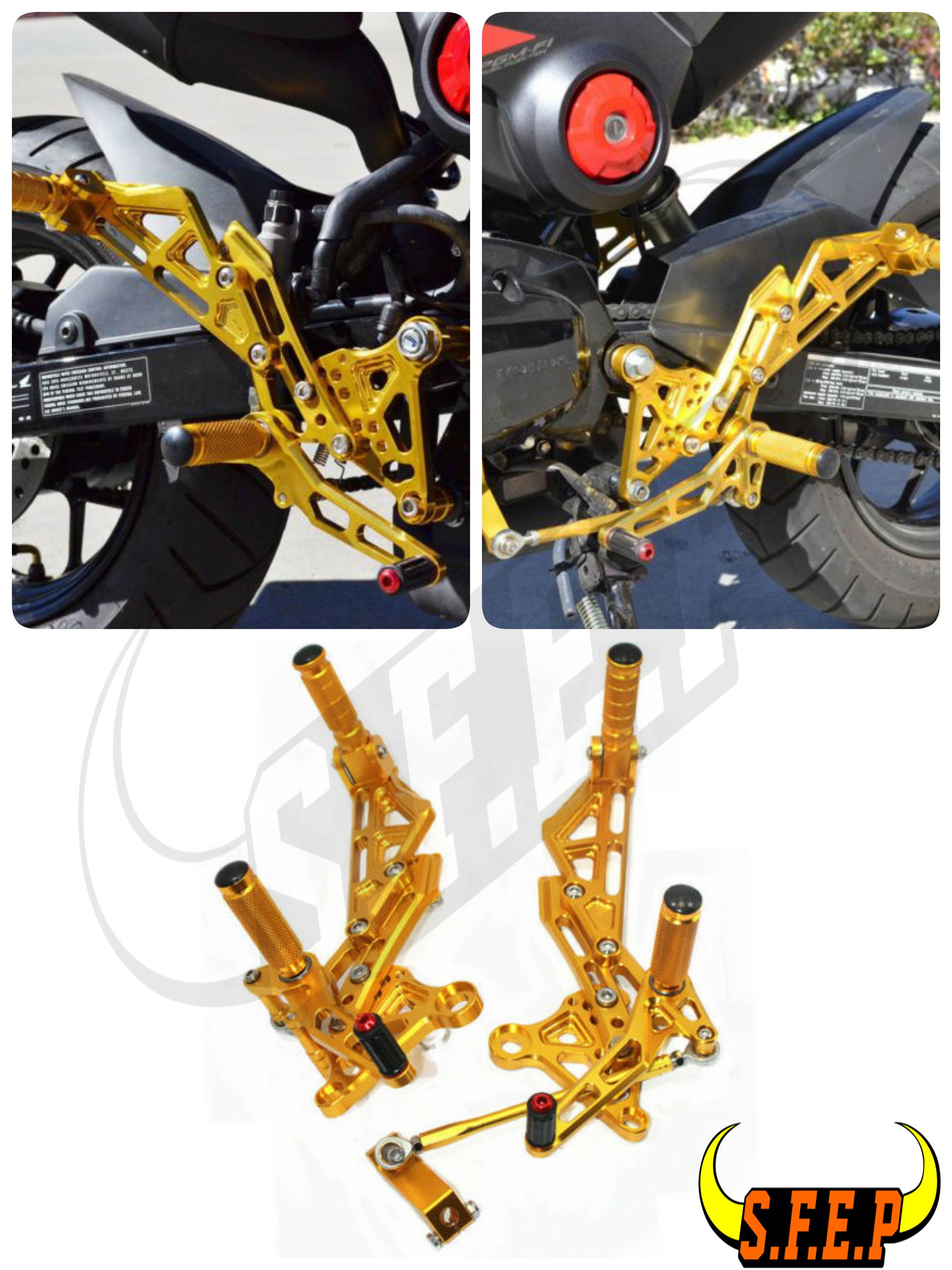 CNC Adjustable <font><b>Rearset</b></font> Foot Pegs Rest Pedal For HONDA GROM <font><b>MSX125</b></font> MSX125SF image