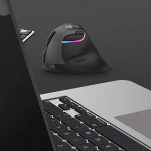 Image 5 - Delux M618 Mini Bluetooth 4.0 + 2.4GHz double mode souris sans fil ergonomique Rechargeable clic silencieux souris verticale pour ordinateur