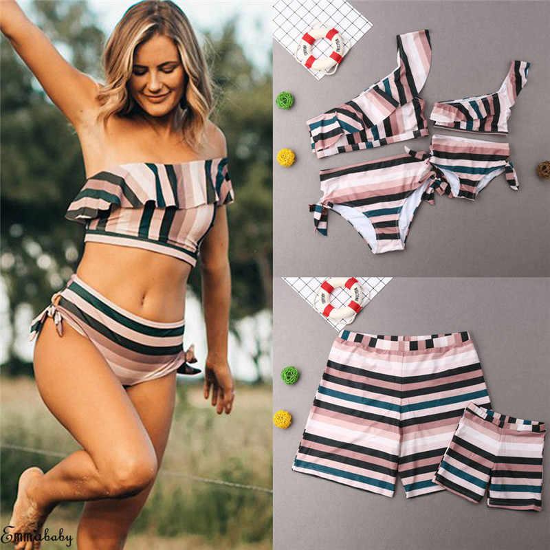 d1c398dbd7 Family Matching Women Girls Swimwear Striped Single Shoulder Ruffles Bikini  Set Panties Men Boy Shorts Bathing