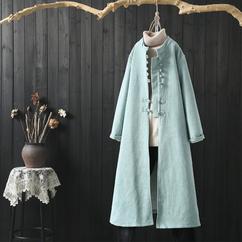 New Cotton Hemp Women   Trench   2019 Spring Chinese Retro National Style Coat Long Sleeve Button Cotton Linen Outwear Female