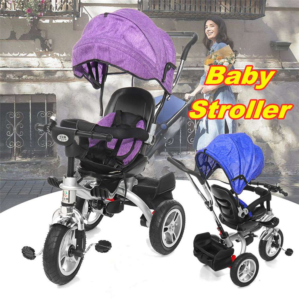 4 In 1 Baby Kids Reverse Toddler Tricycle Bike Trike Ride-On Toys Stroller Prams Baby Car Seats Stroller For Children Car Seats
