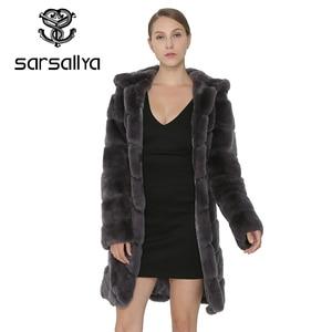 Image 2 - SARSALLYA Rex Rabbit Fur Coat Women Natural Fox Fur With Hooded Jacket Thick Coats Vest Warm Winter Womens Clothing Overcoat