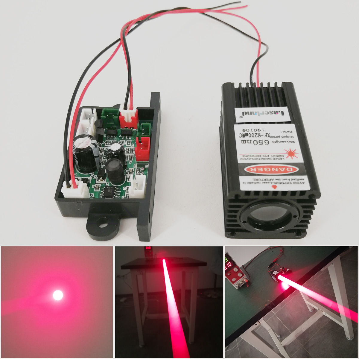 Fat Beam Focusable 200mW 650nm Red Dot Laser Diode Module TTL Continuous Working