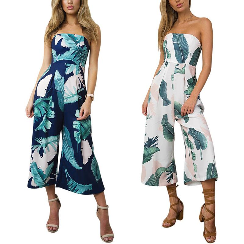 2019 New Women's Bohemia Style Palm Leaf Prints Sexy Non-slip Tube Top Style Rompers Elastic Waist Wide Leg Trousers   Jumpsuits